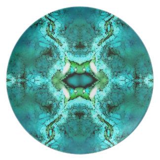 Placa abstracta verde de la turquesa plato de cena