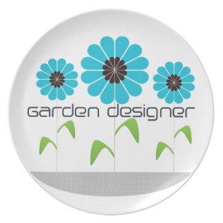 Placa adaptable del logotipo del diseñador de jard plato de cena
