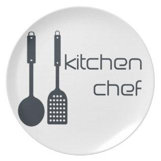 Placa adaptable del logotipo del negro del cociner platos para fiestas
