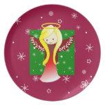 Placa adorable del navidad del ángel plato para fiesta