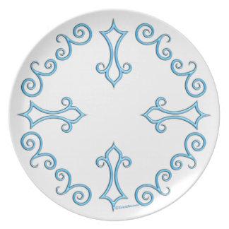Placa adornada azul de la melamina platos