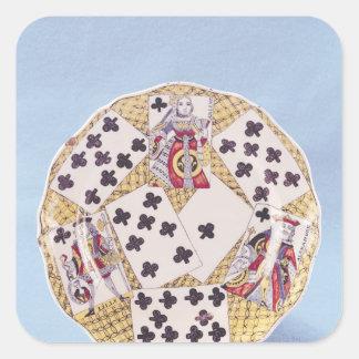 Placa adornada con un trompe - l ' oeil pegatina cuadrada
