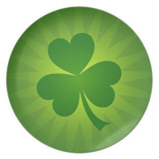 Placa afortunada del día del St Patricks del trébo Platos De Comidas