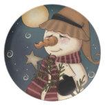 Placa agradable del arte popular del muñeco de nie plato de comida