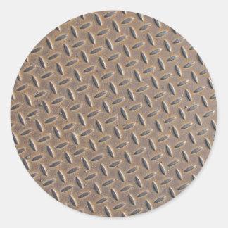 Placa aherrumbrada del inspector hecha del acero o pegatinas redondas