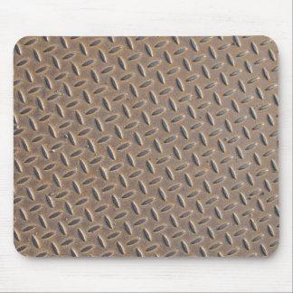 Placa aherrumbrada del inspector hecha del acero o tapetes de ratón