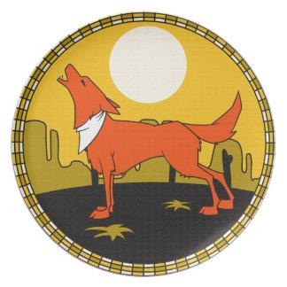 Placa al sudoeste del coyote plato para fiesta