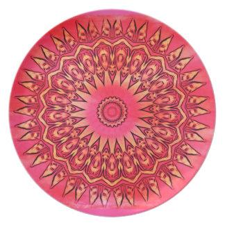 Placa al sudoeste rosada de la flor platos de comidas