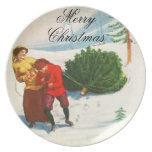 Placa alegre del navidad platos para fiestas