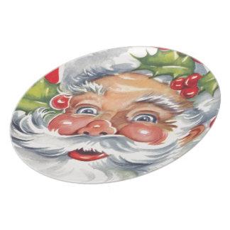 Placa alegre retra de Papá Noel del vintage Plato