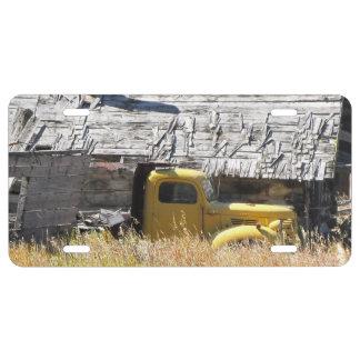 Placa amarilla del camión placa de matrícula