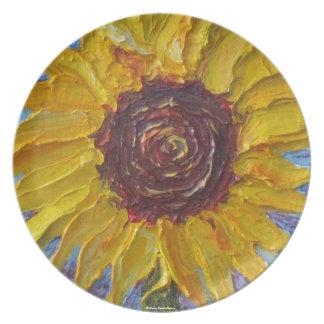 Placa amarilla del girasol de París Platos Para Fiestas