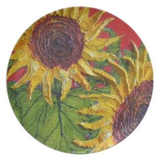 Placa amarilla del girasol platos para fiestas