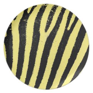 Placa amarilla del melanine de la cebra plato para fiesta