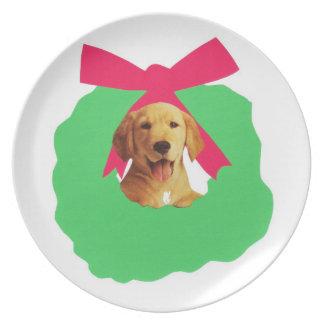 Placa amarilla del perrito del labrador retriever platos de comidas