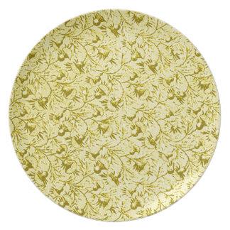 Placa amarilla limón floral plumosa del vintage re plato de cena