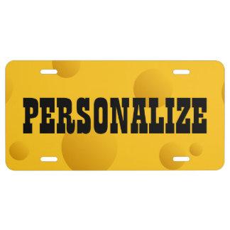 Placa amarilla personalizada de la novedad del que placa de matrícula
