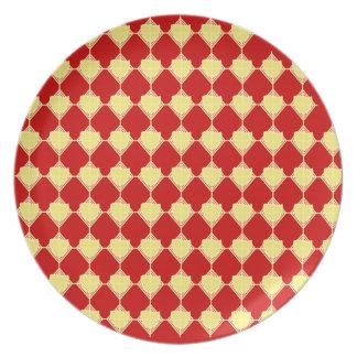 Placa amarilla y roja de la punta de flecha platos para fiestas