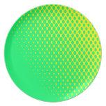 Placa amarilla y verde platos de comidas