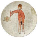 Placa ambarina del monograma de la jirafa y del bú plato de cerámica