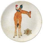 Placa ambarina del monograma de la jirafa y del platos de cerámica