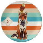 Placa ambarina del monograma del Fox y del búho Plato De Cerámica