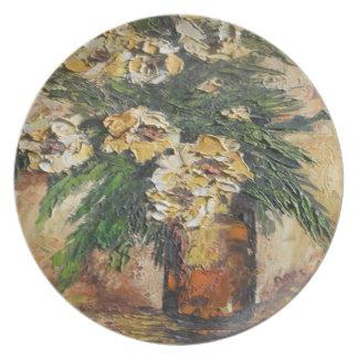 Placa Ana Hayes que pinta las flores amarillas en  Plato De Cena