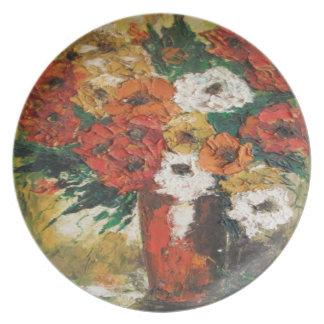Placa Ana Hayes que pinta las flores mezcladas roj Platos De Comidas