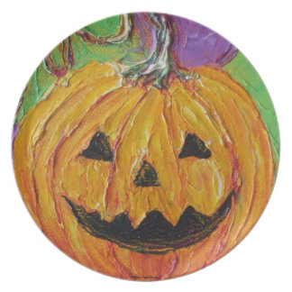 Placa anaranjada de Halloween de la Jack-O-Lintern Platos De Comidas