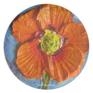 Placa anaranjada de la amapola platos de comidas