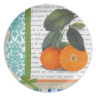 Placa anaranjada de la fruta de la Florida del vin Platos