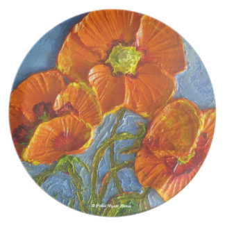 Placa anaranjada de las amapolas plato de cena