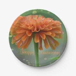 Placa anaranjada del aniversario del Zinnia Platos De Papel
