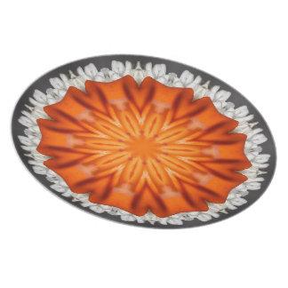Placa anaranjada del caleidoscopio de la estrella platos