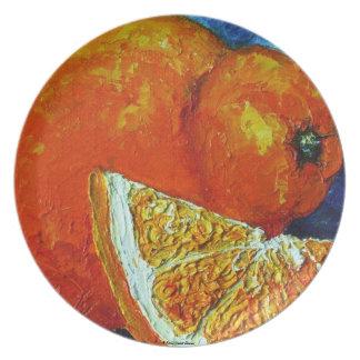 Placa anaranjada del Tangelo Plato Para Fiesta