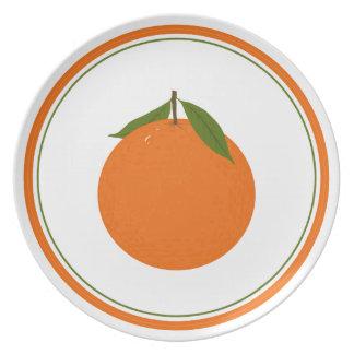 Placa anaranjada deliciosa platos para fiestas