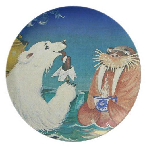 Placa animal divertida del tiempo del té plato de cena