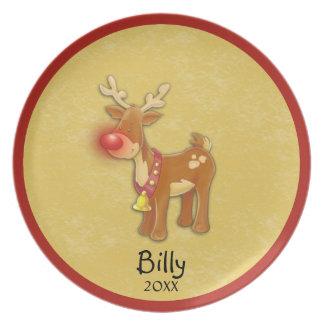 Placa anticuada personal del navidad del oro platos