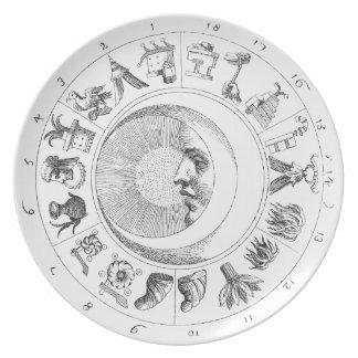 Placa antigua de la astronomía-astrología platos de comidas