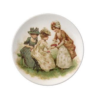 Placa antigua de la fiesta del té de la fresa plato de cerámica