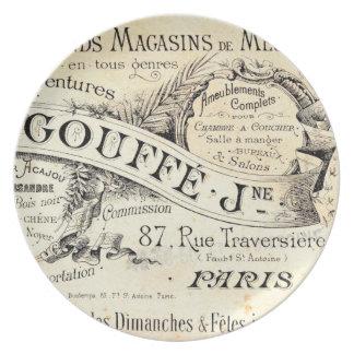 Placa antigua de la tipografía de la etiqueta del  plato para fiesta