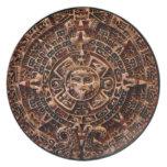 Placa antigua del arte del calendario del disco de platos de comidas