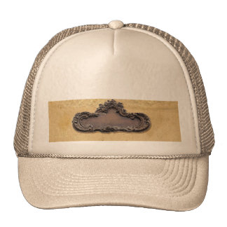 Placa antigua del pergamino y del latón gorra