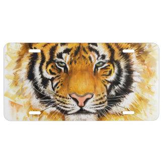 Placa artística de la cara del tigre placa de matrícula