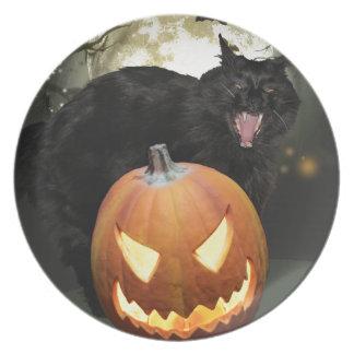 Placa asustadiza de Halloween del gato y de la Plato De Comida