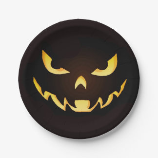 Placa asustadiza del demonio de Halloween Platos De Papel