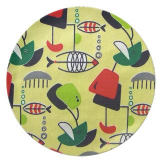 Placa atómica moderna de la melamina del diseño de platos de comidas