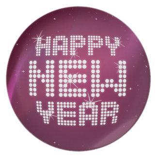 Placa atractiva de la Feliz Año Nuevo del brillo Plato