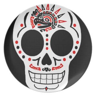 Placa azteca de CasaQ Eagle Calavera Plato Para Fiesta