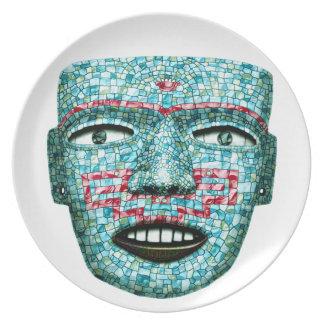 Placa azteca de la máscara del mosaico plato para fiesta